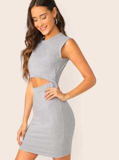 Twist Detail Waist Cut Out Slub Knit Tank Dress