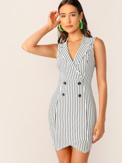 Stripe Double Breasted Blazer Vest Dress