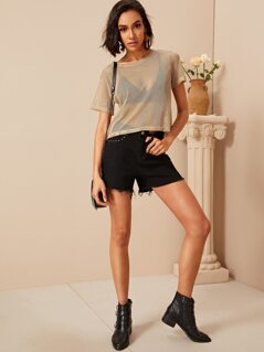 Solid Eyelet Mesh Top Without Bra