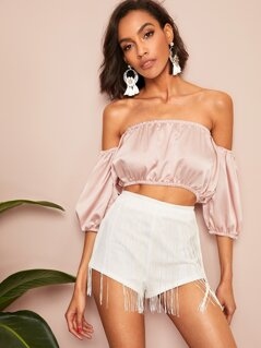 Elastic Trim Off Shoulder Satin Top