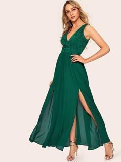 Floral Lace Applique M-slit Front Dress