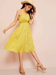 Knot Open Back Button Front Dress