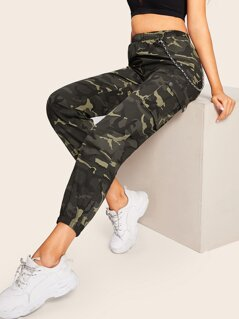 Pocket Patched Elastic Hem Camo Pants With Chain