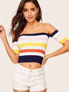 Rib-knit Striped Bardot Sweater
