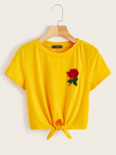 Flower Patched Knot Tee