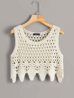 Cutout Insert Asymmetrical Hem Crochet Top