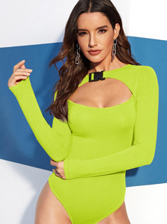 Neon Lime Push Buckle Cut Out Front Bodysuit