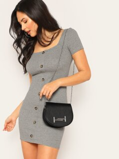 Button Front Square Neck Ribbed Bodycon Dress