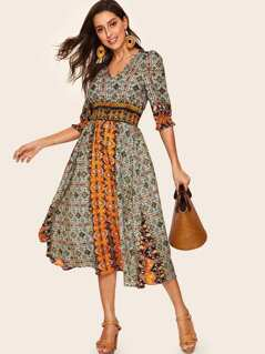 Tribal Print Shirred Detail Dress