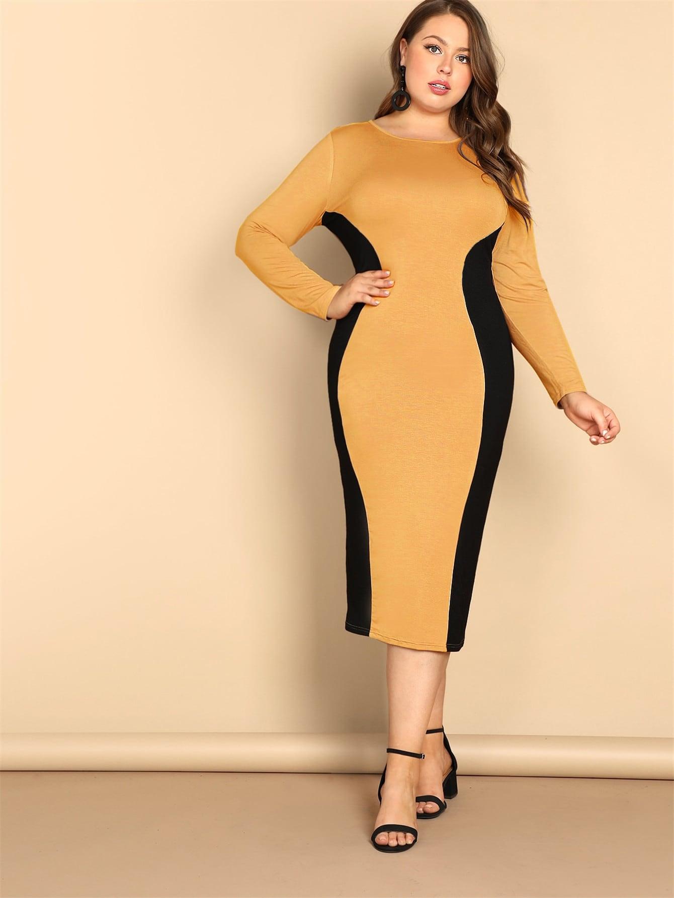 Размер плюс двухцветное платье-карандаш
