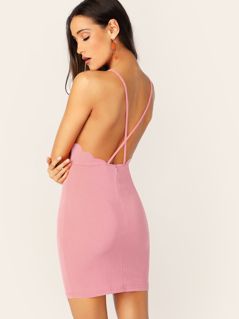 Crisscross Back Scallop Edge Halter Dress