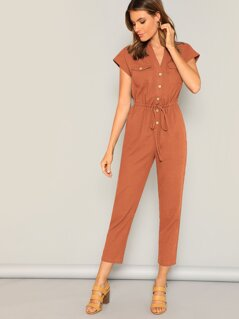 Waist Drawstring Button & Pocket Front Solid Jumpsuit