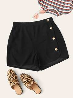 Plus Buttoned Side Shorts