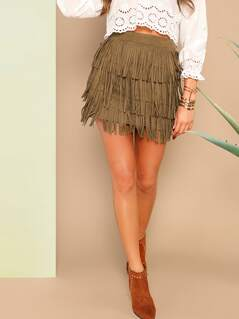 Layered Fringe Suede Skirt