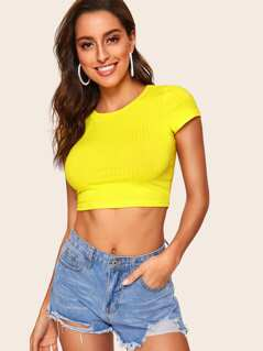 Neon Yellow Form Fitted Rib-knit Crop Tee