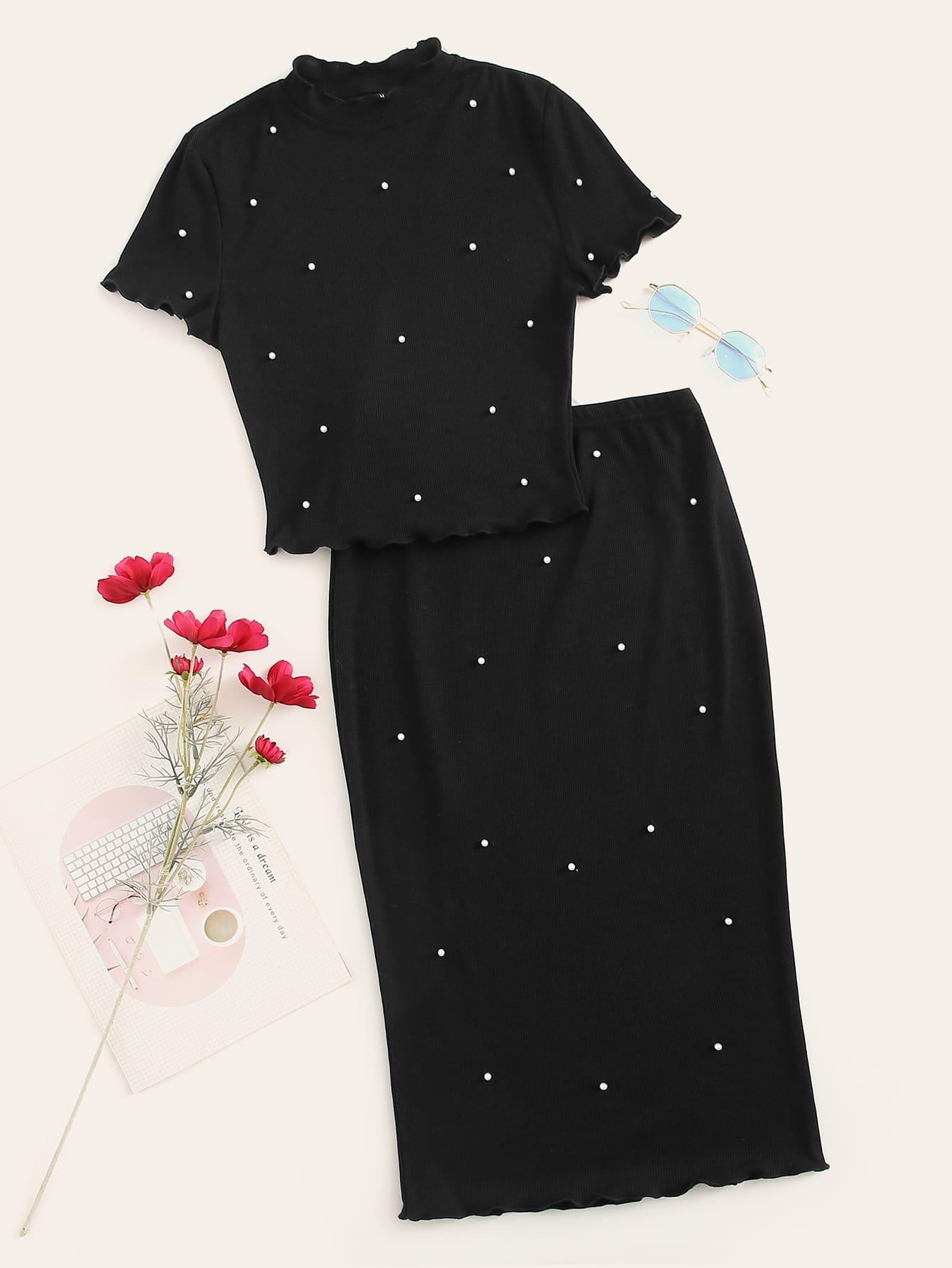 Фото - Топ со стоячим воротником бисерами и оригинальной отделкой и юбка от SheIn черного цвета