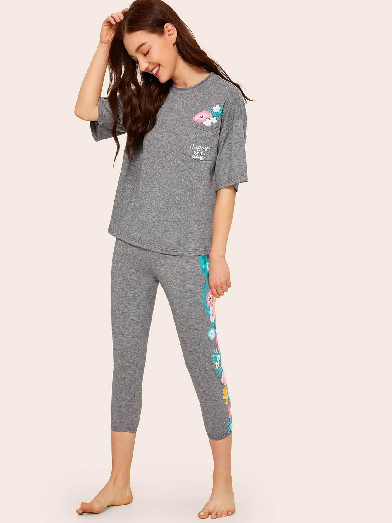 Фото - Цветочный топ с заплатой кармана и текстовым принтом и леггинсы от SheIn серого цвета