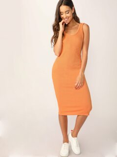 Scoop Neck Rib Knit Midi Tank Dress