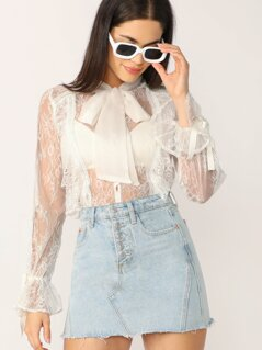Button Up Neck Tie Sheer Lace Long Sleeve Blouse