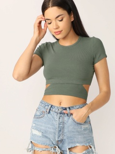 Cap Sleeve Knot Hem Rib Knit Crop Top