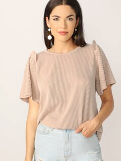 Crew Neck Ruffle Trim Rib Knit Boxy Fit T-Shirt