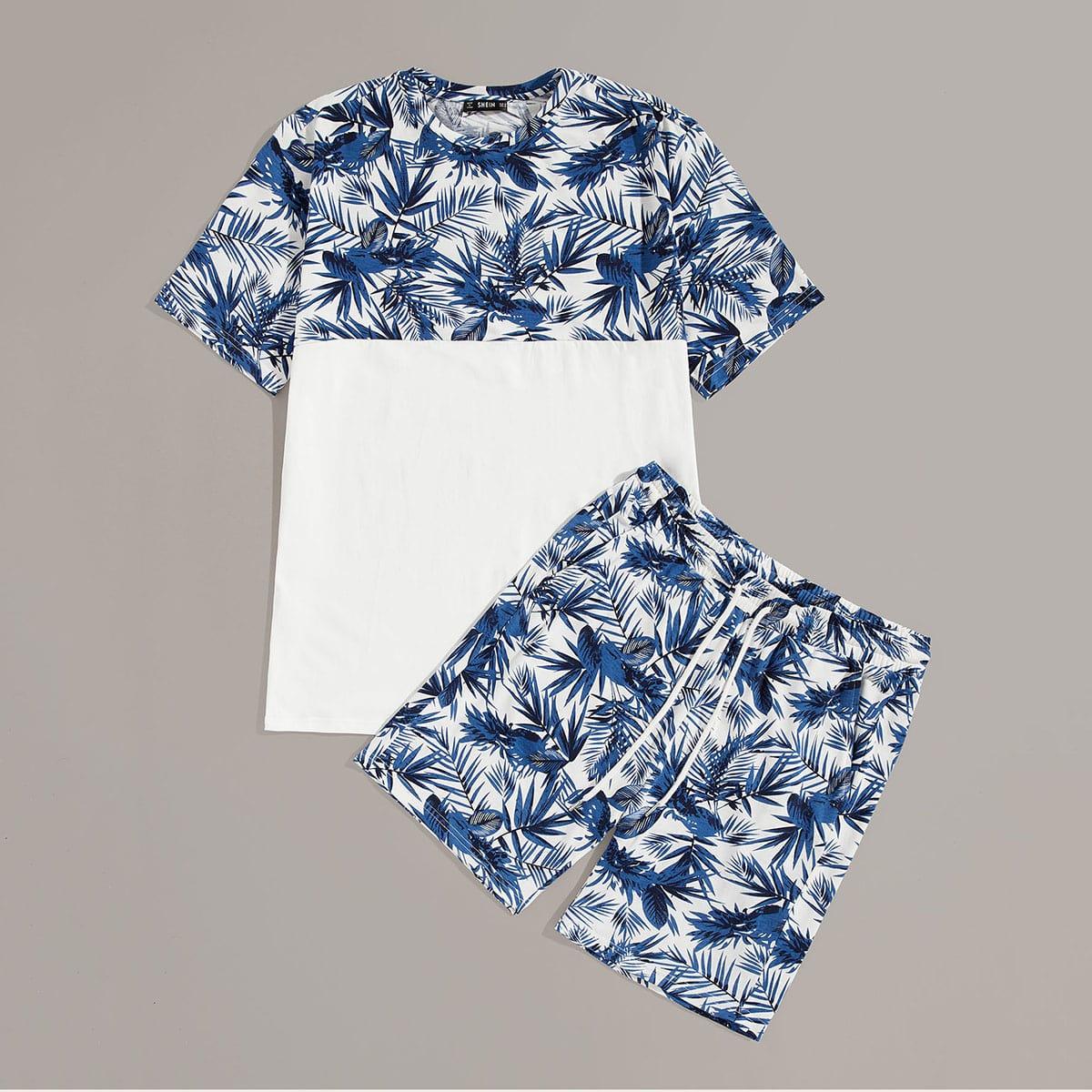 Мужская контрастная футболка с графическим принтом и шорты комплект от SHEIN