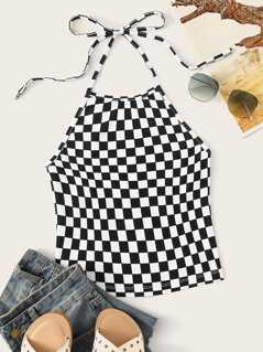 Checked Print Knot Backless Halter Top
