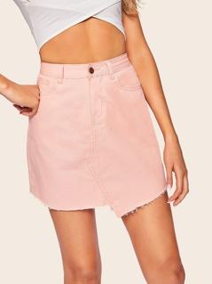 Pink Wash Asymmetric Raw Hem Denim Skirt