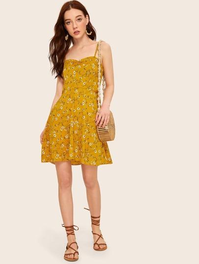 Calico Print Shirred Back Cami Dress