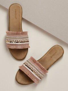 Decorated Sequin Fringe Band Flat Slide Sandals