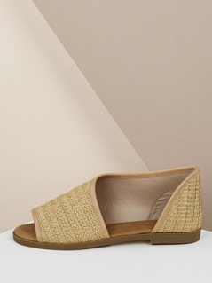 Open Toe Raffia Woven Dorsay Slip On Flats