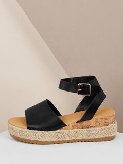 Wide Band Buckled Ankle Jute Flatform Sandals