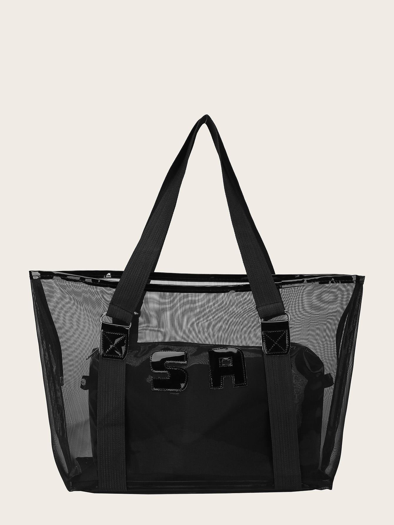 Большая сумка с внутренним чехлом и текстовой заплатой SheIn