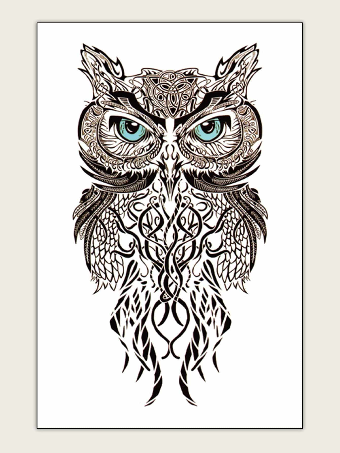 Купить Наклейка тату в виде совы 1 лист, null, SheIn