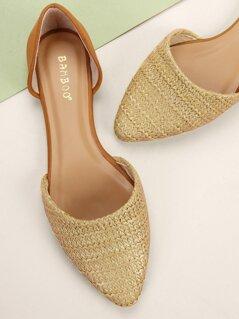 Raffia Woven Pointed Toe Dorsay Ballet Flats