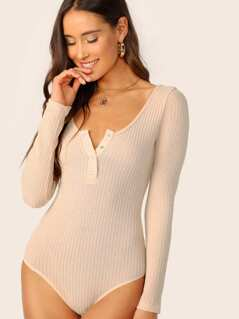 Press Button Front Waffle Knit Bodysuit