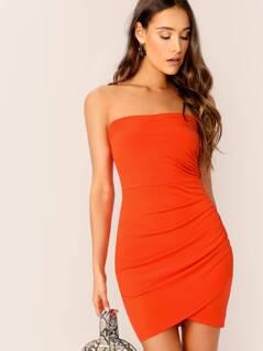 Neon Orange Ruched Wrap Hem Bandeau Dress