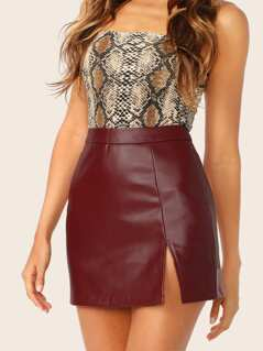 Wide Waist Split Hem PU Skirt