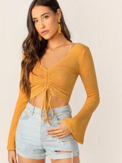 Drawstring Knot Front Rib-knit Top