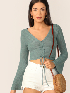 Shirred Drawstring Front Bell Sleeve Crop Top