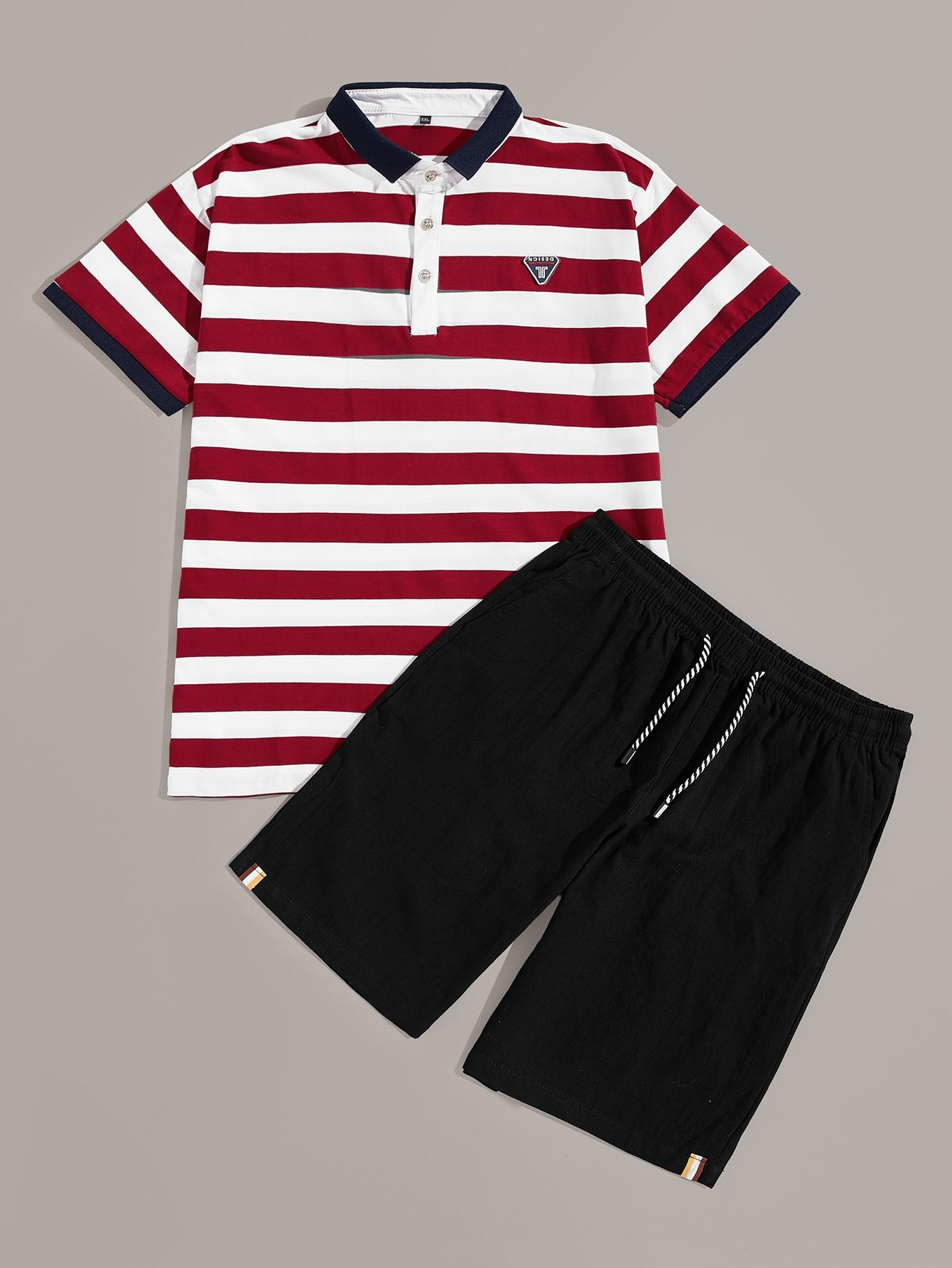 Купить Мужские полосатая поло рубашка с контрастной отделкой и шорты, null, SheIn