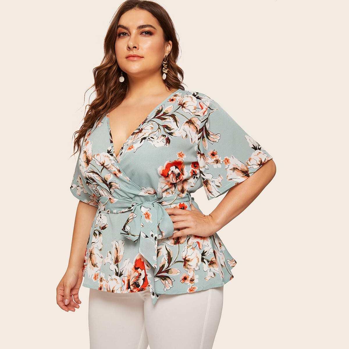 Размера Плюс Цветочная Блуза С V-Образным Вырезом