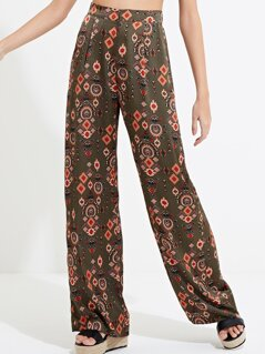 Scarf Print Satin Trousers