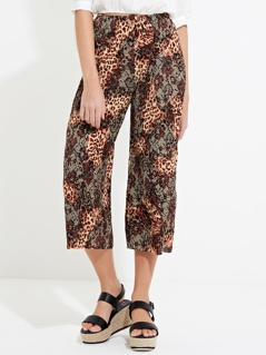 Animal Plisse Wide Leg Trousers