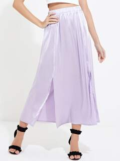 Satin Split Front Midi Skirt