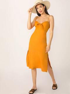 Tie Front Smocked Back Spaghetti Strap Dress