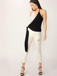 Wrap Front Two Toned Halter Neck Sleeveless Top