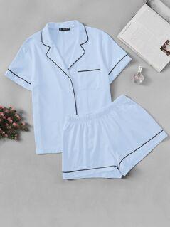 Contrast Piping Pocket Front Shirt & Shorts PJ Set