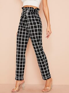Ruffle Waist Lace Up Grid Print Pants