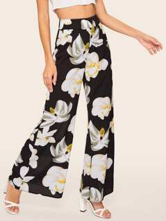 Zip Back Floral Print Wide Leg Pants